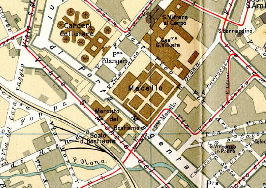 Stralcio del piano regolatore  Beruto 1885: lo Scalo del Bestiame  collegato al Macello  di  Milano e il fiume Olona