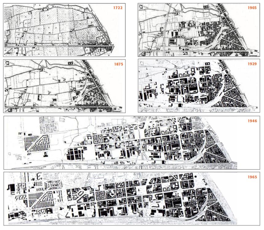 mappe storiche  del 1722, 1875, 1903, 1929, 1946, 1965 del Quartiere Tortona Solari