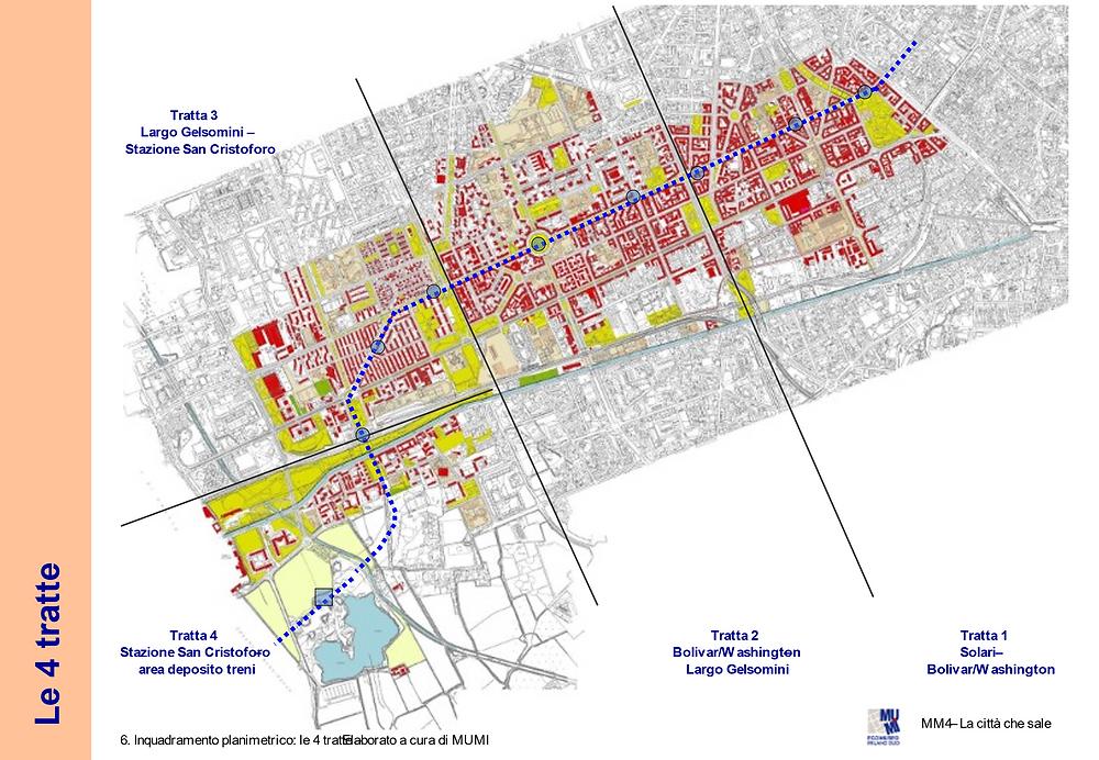 Inquadramento planimetrico: il percorso della nuova M4 nel territorio del Municipio 6
