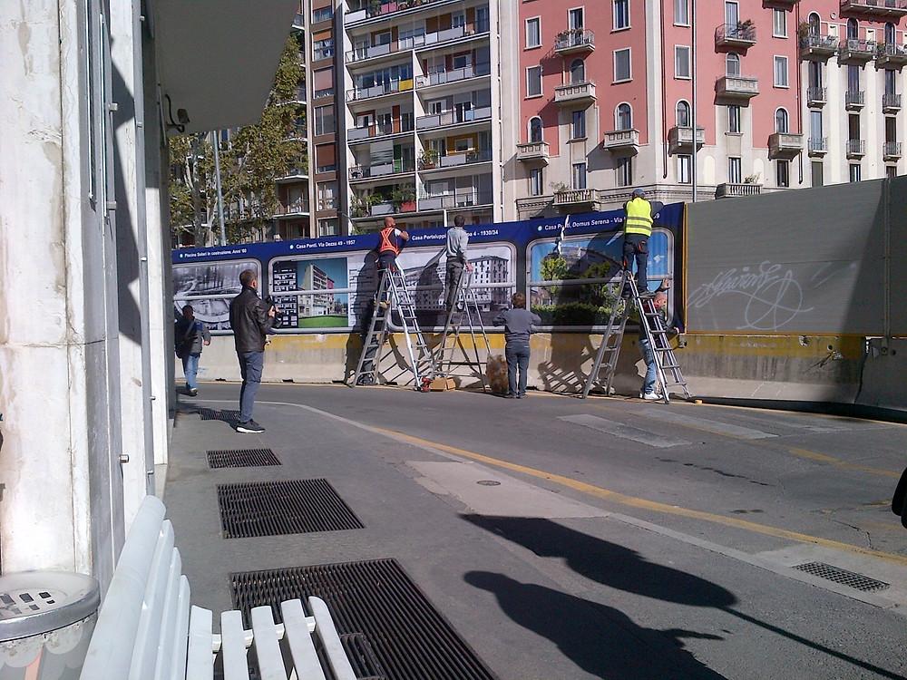 L'installazione in via Montevideo