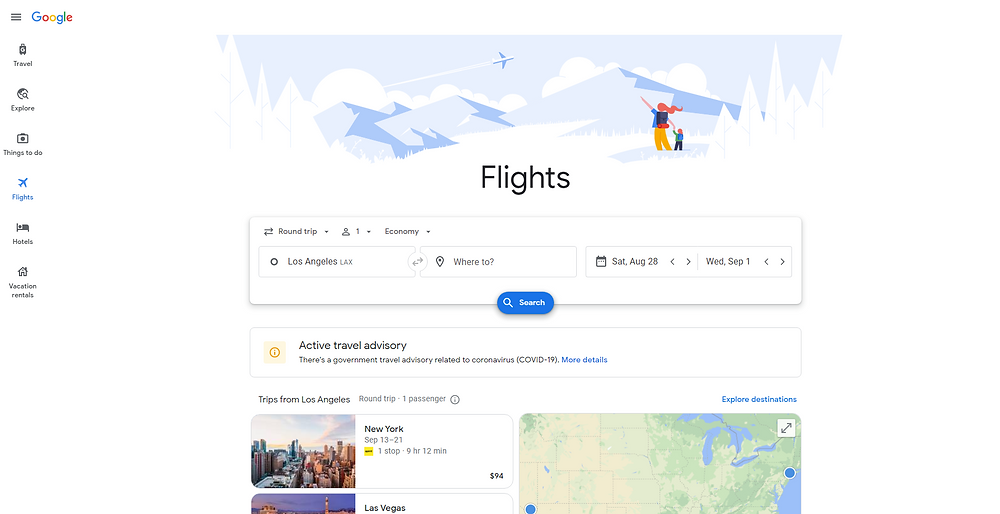 Search for Travel Deals and Cheap Flights with Google Flights, , Vacation Countdown App