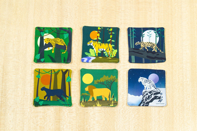 Big Cats of India: Set of 6 Fabric Coasters