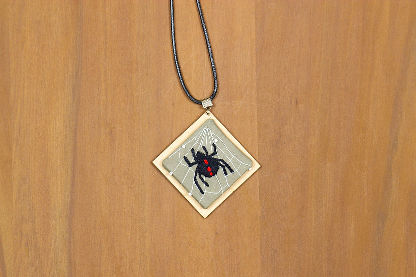 Spider Hand Embroidered Pendant