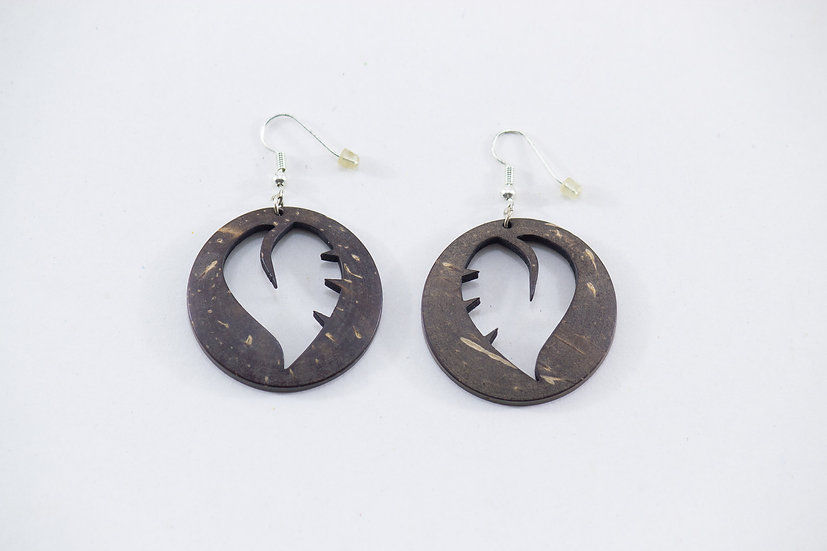Leaf II Coconut Shell Earrings by EarthCare Designs Foundation
