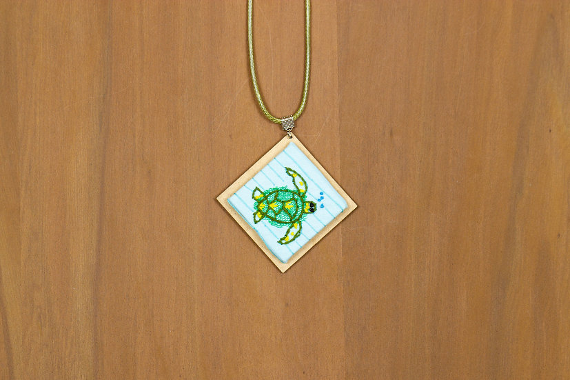Turtle Hand Embroidered Pendant