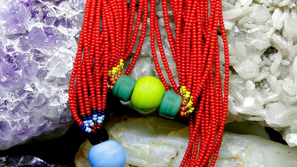 Baiga Moonga Dana Necklace Red