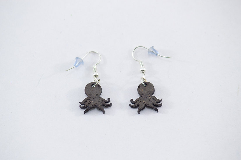 Octopus Coconut Shell Earrings by EarthCare Designs Foundation