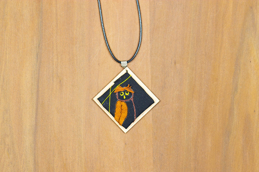 Owl Hand Embroidered Pendant