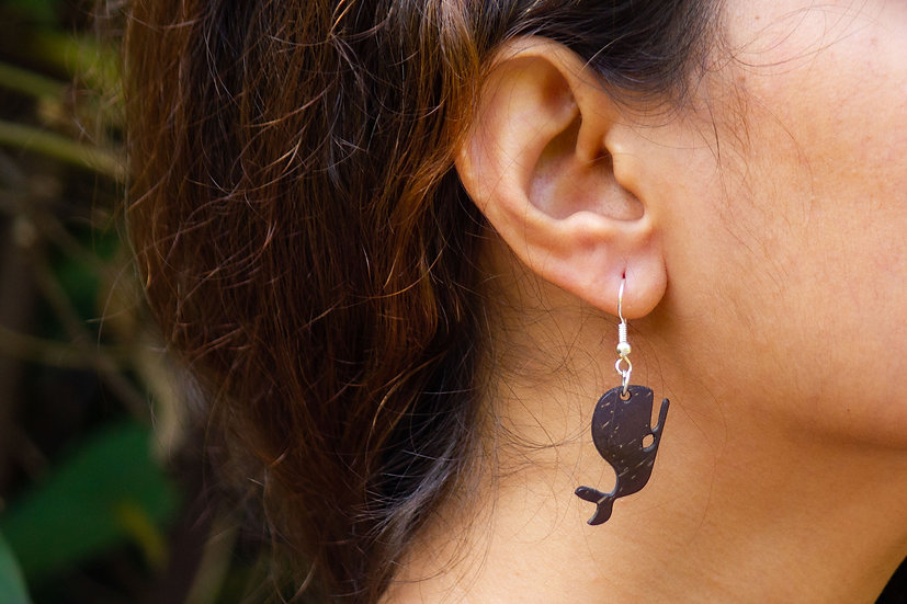 Whale Coconut Shell Earrings by EarthCare Designs Foundation