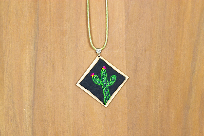 Cactus Hand Embroidered Pendant