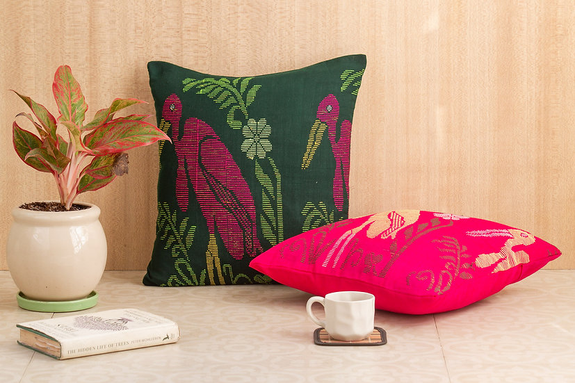 BLINGY Cushion Cover - Greater Adjutant Stork 1- Hargila Army