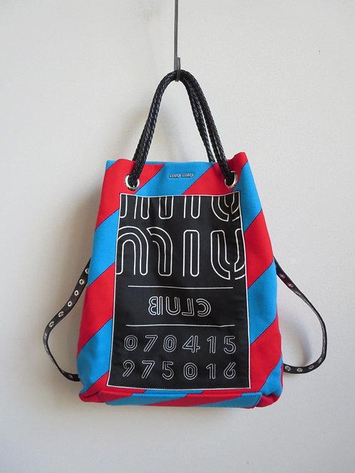 MIU MIU ミュウミュウ バイカラーストライプ ロゴプリント 2WAY リュック/ショルダー バッグ