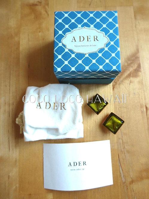 ADER.bijoux アデル ビジュー|メタリック スカラベグリーン スクエアフォルム クリップ イヤリング