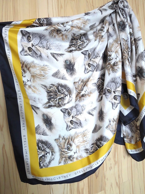 STELLA McCARTNEY ステラマッカートニー FALL-WINTER COLLECTION|キャットプリント シルク スカーフ