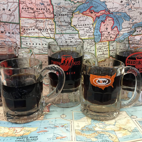 RB - Set of Four Root Beer Mugs/Glasses, Styles Vary
