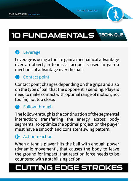 leverage, contact point, follow through, action reaction