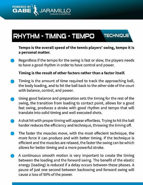 tennis rhytm, timing, tempo