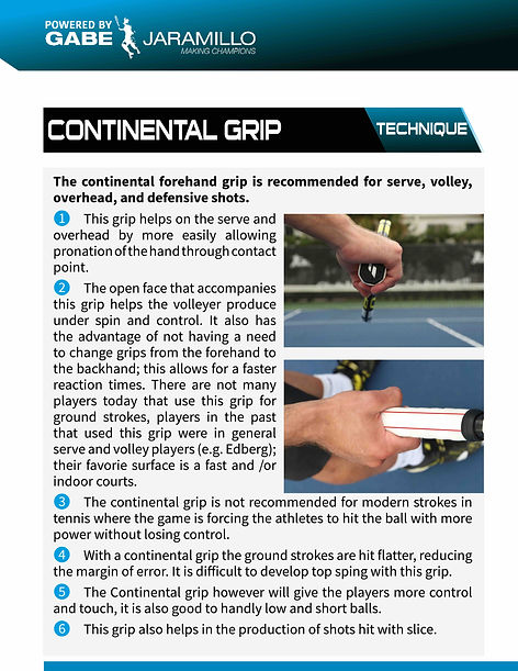 continental serve, overhead and volley grips