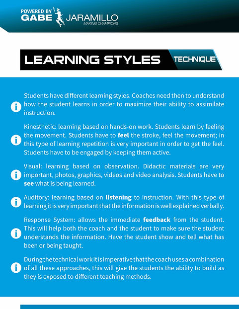 tennis learning styles