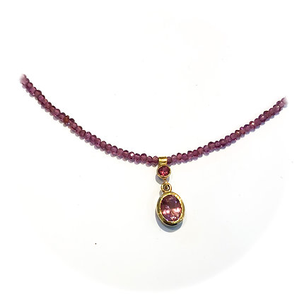 Pink Tourmaline and Garnet Necklace