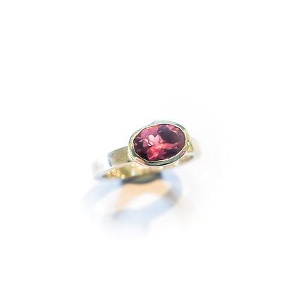 Silver Pink Tourmaline Ring