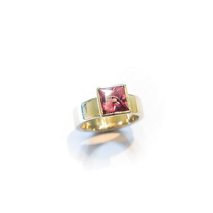 Princess Cut Pink Tourmaline Ring