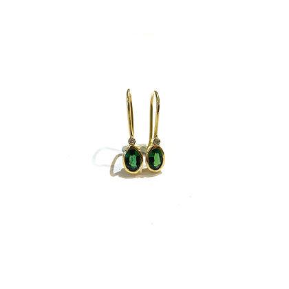 Chrome Tourmaline and Diamond Drop Earrings