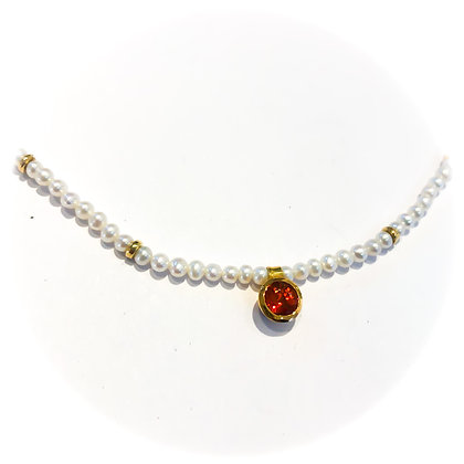 Orange Sapphire and Pearl Necklace