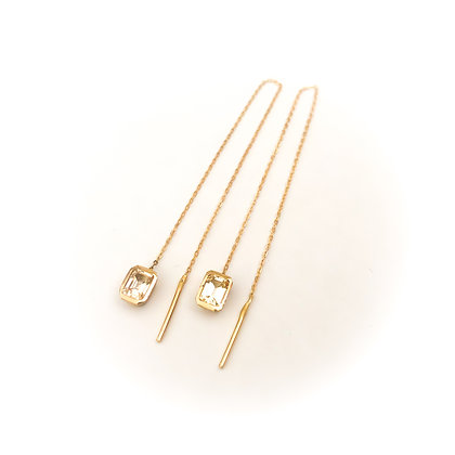 Yellow Sapphire Threader Earrings