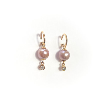 Pink Pearl and Diamond Hoops