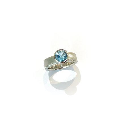 Aquamarine and Diamond Signature Ring