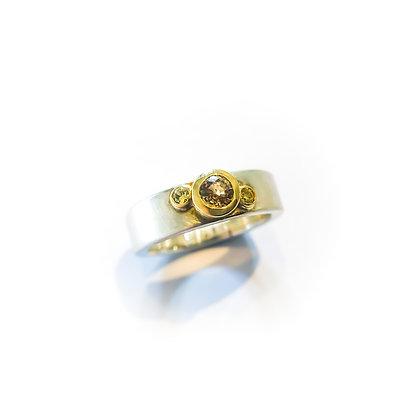 Yellow Sapphire Triple Stone Ring
