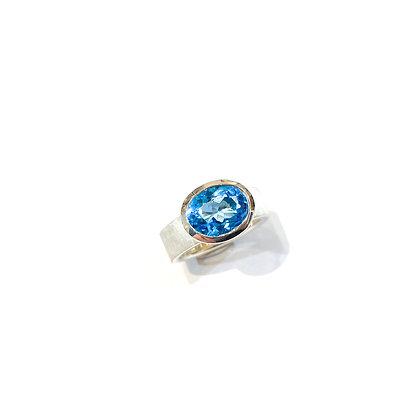 Oval Swiss Blue Topaz Ring