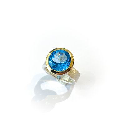 Swiss Blue Topaz Cocktail Ring