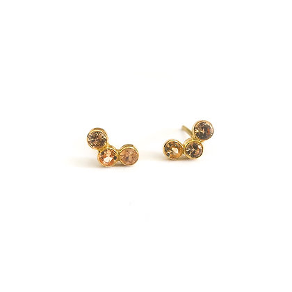 Triple Stone Studs (Gold)