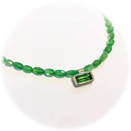 Green Tourmaline and Garnet Necklace
