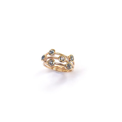 Salt and Pepper Diamond Bubble Ring