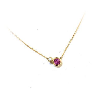 Pink Sapphire and Diamond Pendant