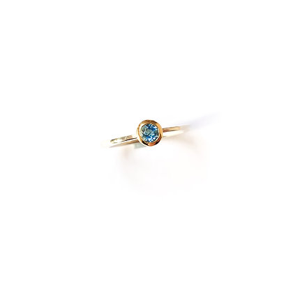 Dark Blue Aquamarine Stacking Ring