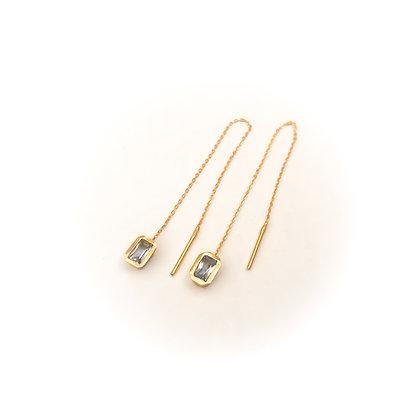 Pale Blue Sapphire Threader Earrings