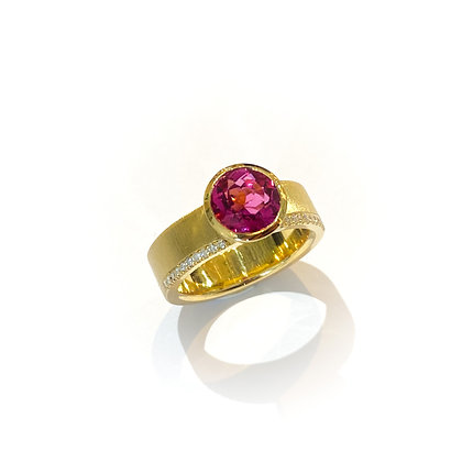 Rubellite and Diamond Signature Ring