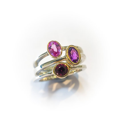 Ruby Spinel and Sapphire Pink Stack