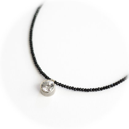 Cubic Zirconia and Black Spinel Necklace