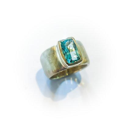 Long Cushion Aquamarine Ring