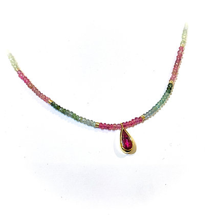 Rubellite and Watermelon Tourmaline Necklace