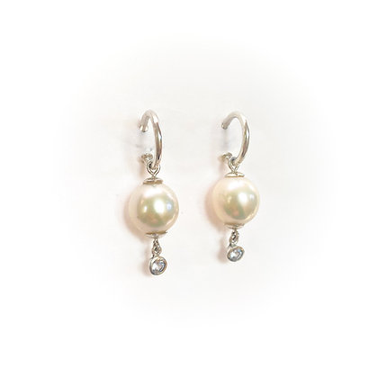 White Pearls and White Sapphire Hoops
