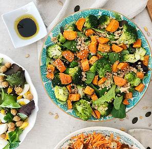 recette salade verte, patate douce et brocoli