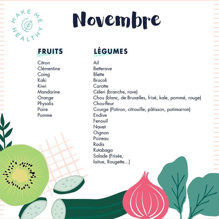 calendrier fruits et légumes novembre