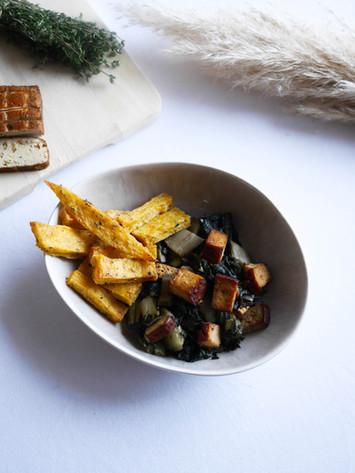 Frites de polenta et fondue de blettes