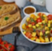 recette salade de tomates cerises et tartines d'oignon confit